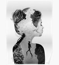 Double Exposure Diver Poster