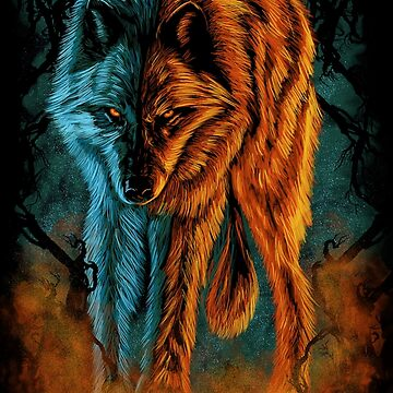 Fire and Ice Wolf by myoubi