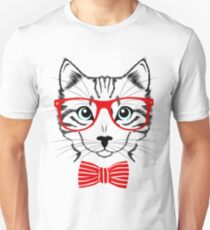 Hipster cat bow tie and glasses T-Shirt