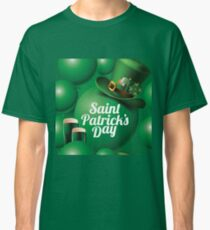Saint Patrick's Day seamless green balloon, leprechaun hat and green beer pattern Classic T-Shirt