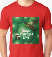 Saint Patrick's Day seamless green balloon, leprechaun hat and green beer pattern Unisex T-Shirt