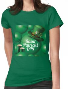Saint Patrick's Day seamless green balloon, leprechaun hat and green beer pattern Womens Fitted T-Shirt
