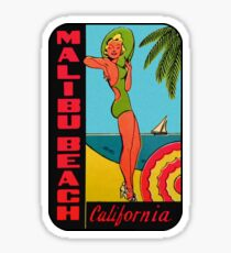 Malibu Beach California Vintage Travel Decal Sticker