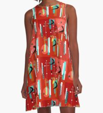 Primärfarben Boomerang-Muster A-Linien Kleid