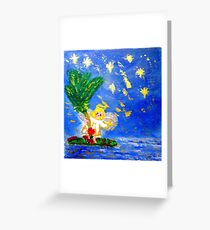 Angel in the Tropics Designer Art Decor & Gifts Red Greeting Card