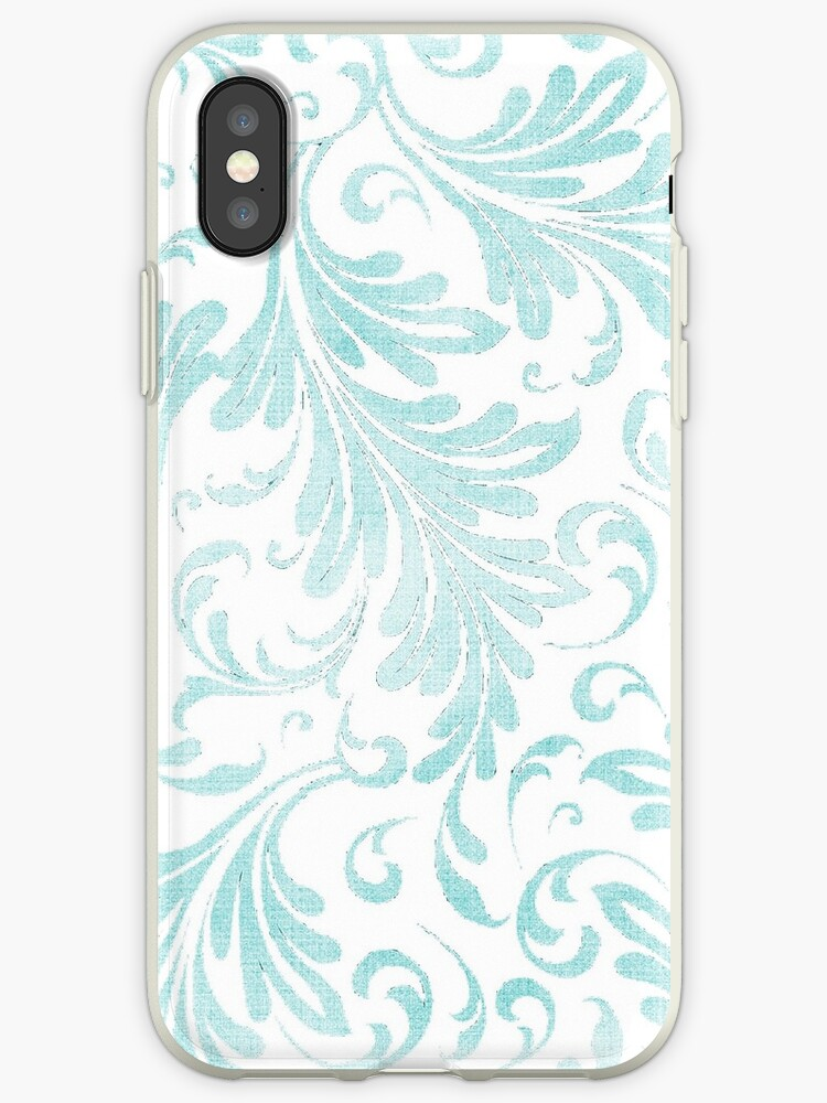 Fancy Acanthus Pattern Aqua on White by Pixelchicken
