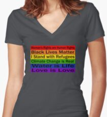 Political Protest – United we can make a change Women's Fitted V-Neck T-Shirt
