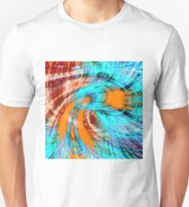 brown orange and blue curly line pattern abstract T-Shirt