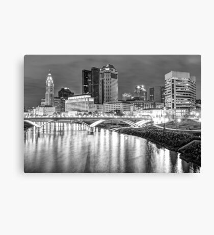 Columbus Downtown Skyline at Night - Ohio - Black and White Canvas Print
