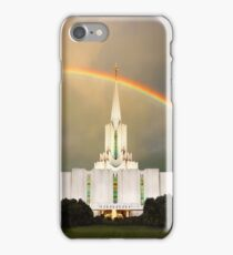 Jordan River Temple Under the Rainbow 20x24 iPhone Case/Skin