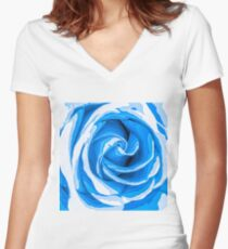 closeup blue rose texture abstract background Women's Fitted V-Neck T-Shirt
