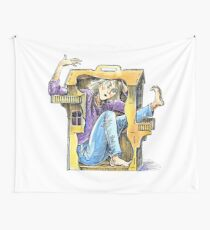 Girl inside a dollhouse Wall Tapestry