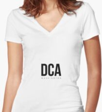 DCA - Washington Airport Code Women's Fitted V-Neck T-Shirt