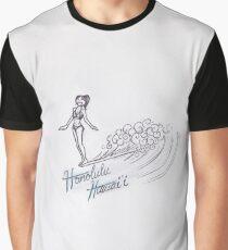 Honolulu Hawaii Surfer Girl Graphic T-Shirt