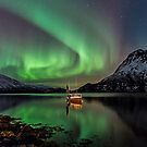Auroras and the boat  by Frank Olsen