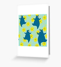 Cute smiling bears with bright yellow flowers. Greeting Card