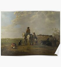 Aelbert Cuyp - A Landscape With Horseman, Herders And Cattle Poster