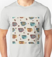 Graphic coffee cups witth leaves and coffee beans. Unisex T-Shirt