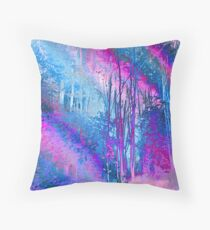 Psychedelic Forest (blue-pink) Throw Pillow