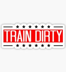 cool scratch cracks stamp color text weightlifting clean eat muscles strong dumbbell weights train design clean train dirty logo Sticker