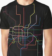 Shanghai Metro Map - Black Graphic T-Shirt