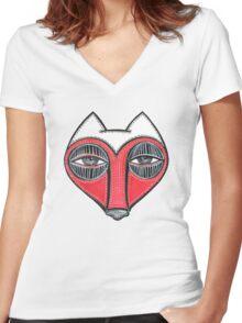 fox face heart Women's Fitted V-Neck T-Shirt