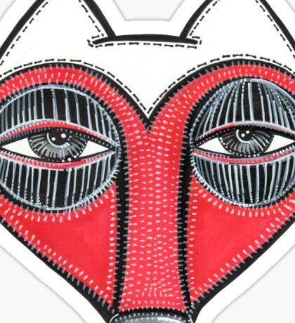 fox face heart Sticker
