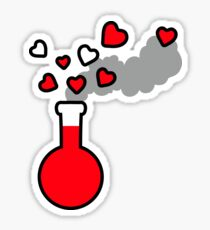 Elixir of Love - Red Potion Laboratory Flask with Hearts Sticker