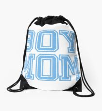 Boy Mom Blue Baby Shower Gender Reveal Party Womens T Shirt Drawstring Bag
