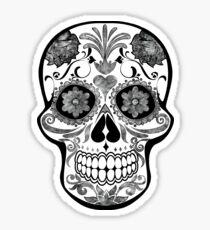 Skull - black and white watercolor Sticker