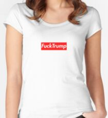 Fuck Trump supreme box logo Women's Fitted Scoop T-Shirt