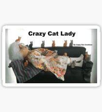 crazy cat lady doll art humor Sticker