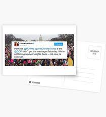 Elizabeth Warren Frauen März Tweet Postkarten