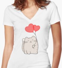 Eli, the love cat Women's Fitted V-Neck T-Shirt