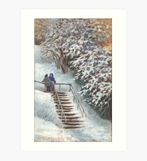On the stairs Art Print