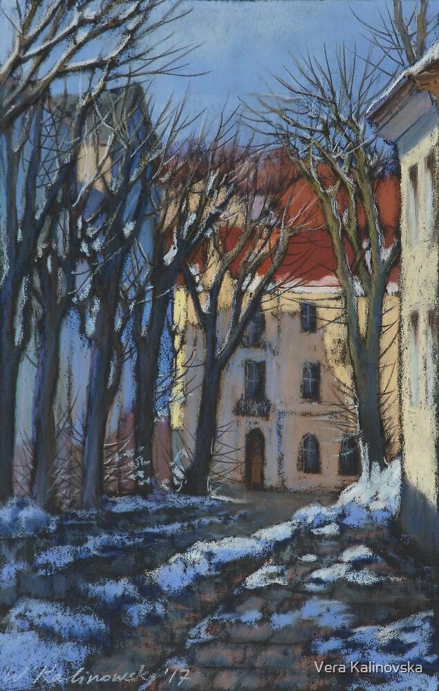 Winter street by Vira Kalinovska