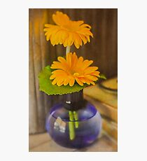 Orange Flowers Blue Vase Photographic Print