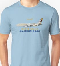 Illustration of Etihad Airways Airbus A380 - Blue Version T-Shirt