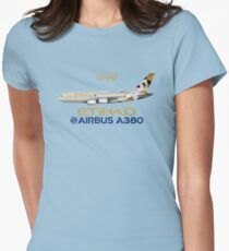 Illustration of Etihad Airways Airbus A380 - Blue Version Womens Fitted T-Shirt