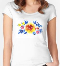Feminine bouquet of yellow roses and blue leaves Women's Fitted Scoop T-Shirt