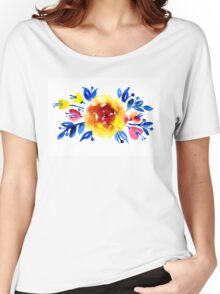 Feminine bouquet of yellow roses and blue leaves Women's Relaxed Fit T-Shirt