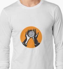 Hand Holding Ball with Spikes Circle Woodcut Long Sleeve T-Shirt