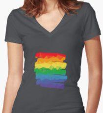Pride Rainbow Brush Stroke Hope Women's Fitted V-Neck T-Shirt