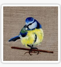 A Blue-Tit Oil Painting by Angela Brown Art Sticker