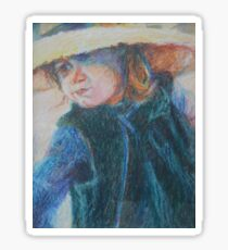 Big Hat - A Girl In A Blue Outfit Sticker
