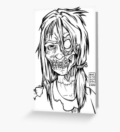 Zombie School Girl - OOTD style Greeting Card