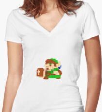 Link Voxel Amiibo Art Women's Fitted V-Neck T-Shirt