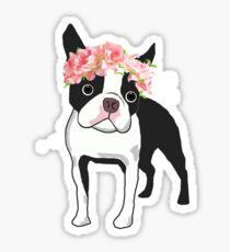 Boston Terrier and Flowers Sticker