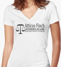 To Kill A Mockingbird - Atticus Finch Attorney At Law Women's Fitted V-Neck T-Shirt