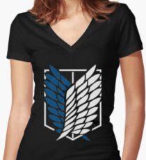 Shingeki no kyojin logo Women's Fitted V-Neck T-Shirt